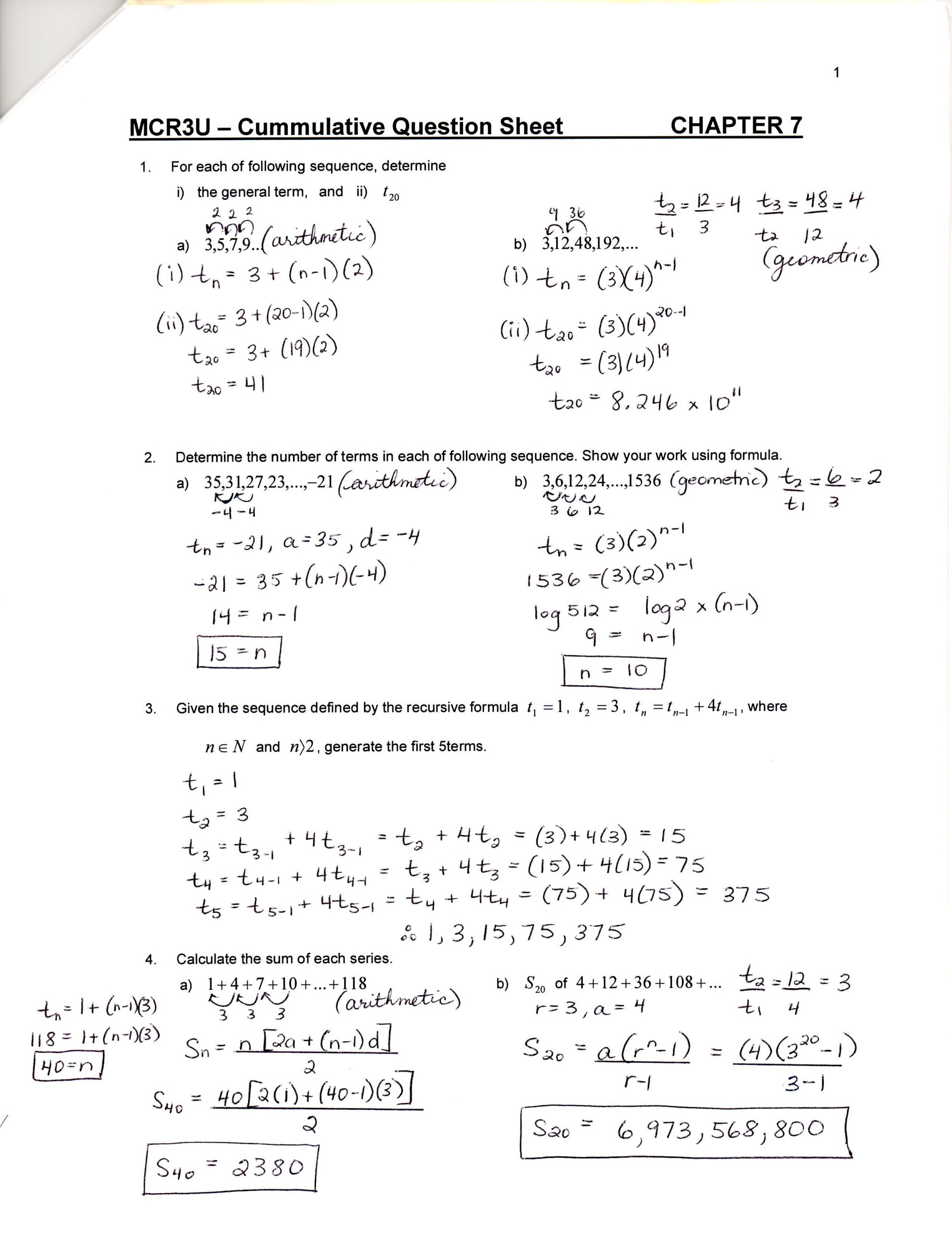 Sequences and Series Worksheet Answers Unit 7 & 8 Sequences Series and Financial Applications