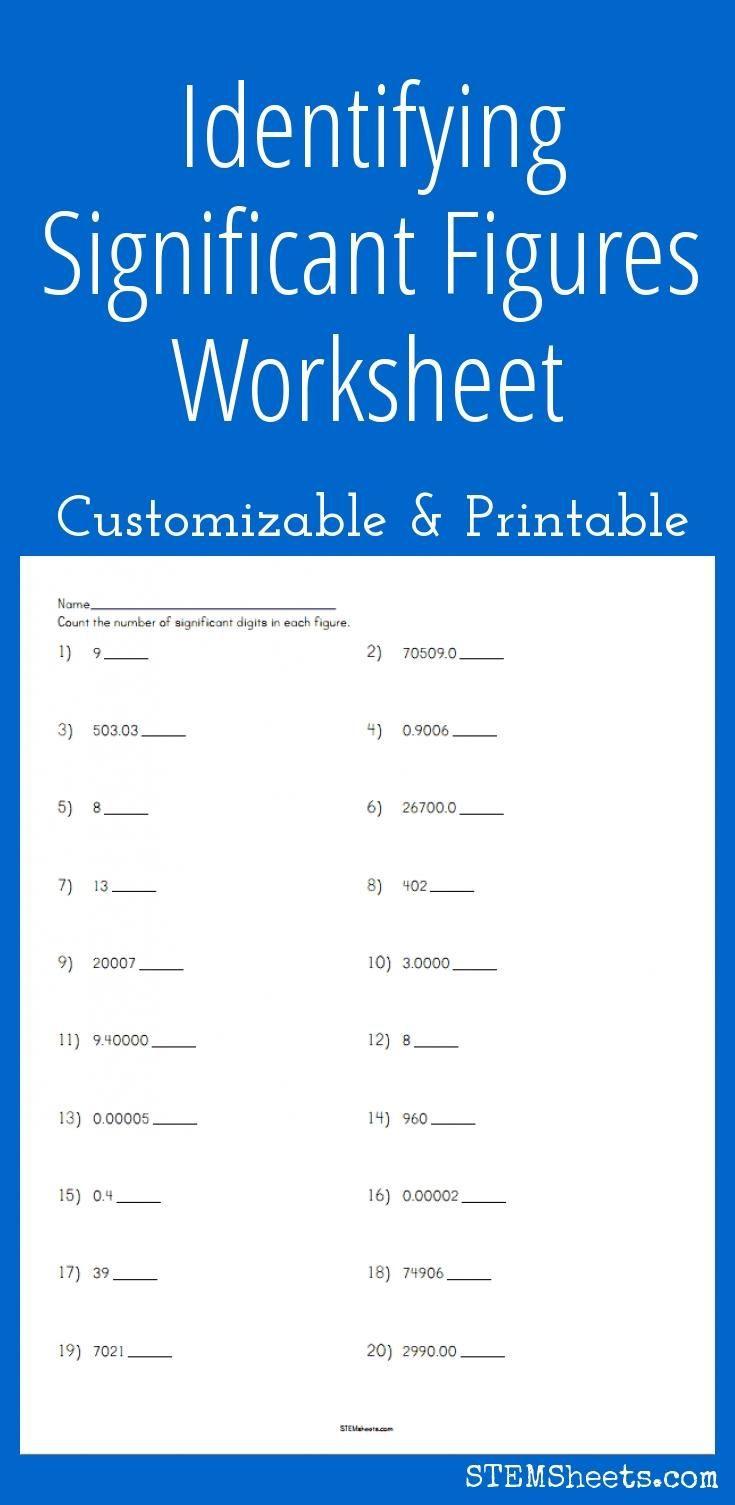 Significant Figures Practice Worksheet Identifying Significant Figures Worksheet