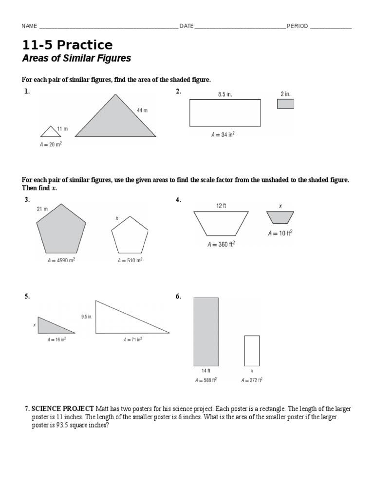 Similar Figures Worksheet Answer Key 11 5 Practice Day 1 1 Hjk Mvbhujk Shape