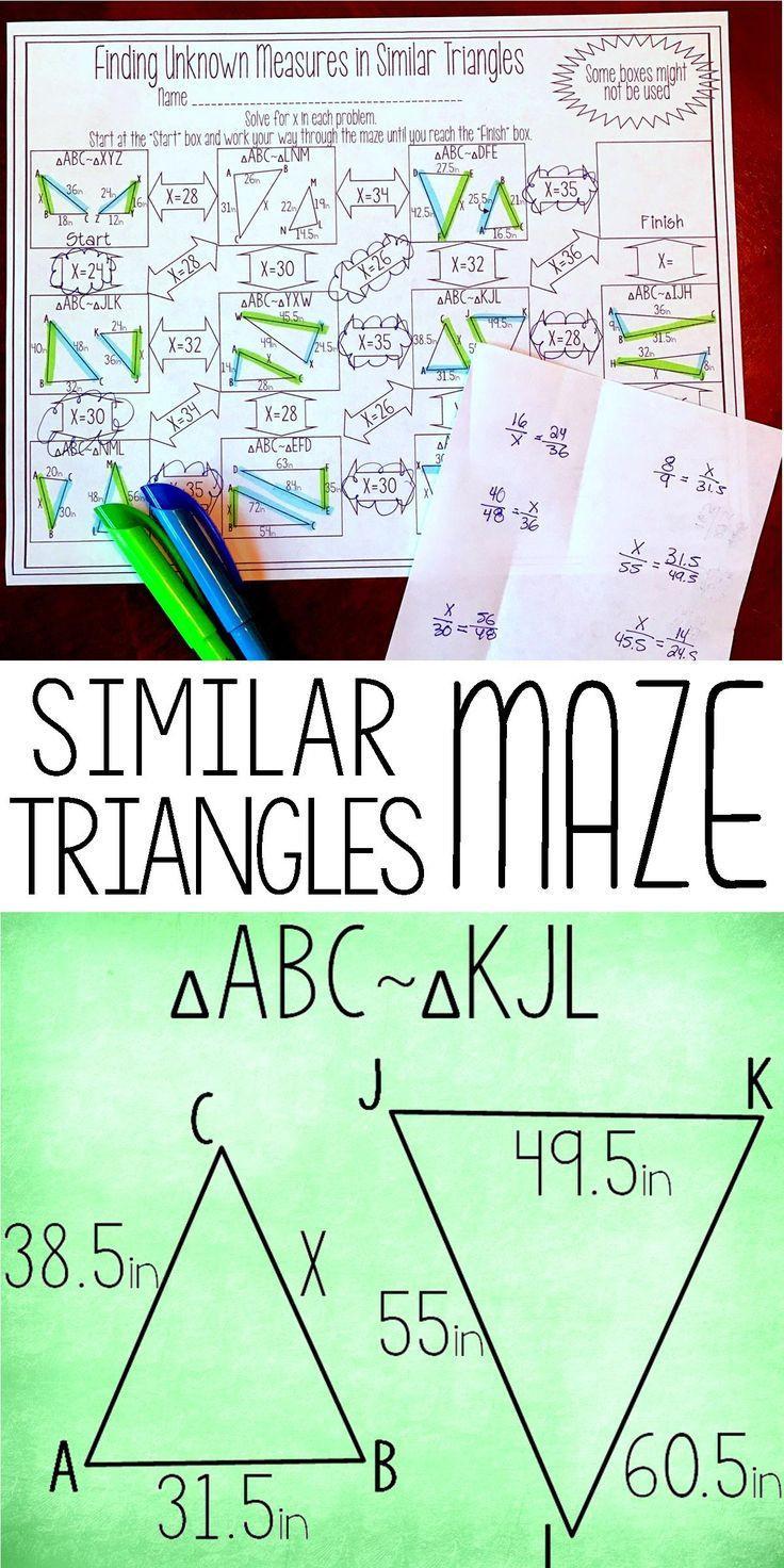 Similar Figures Worksheet Answer Key Finding Unknown Measures In Similar Triangles Maze Worksheet