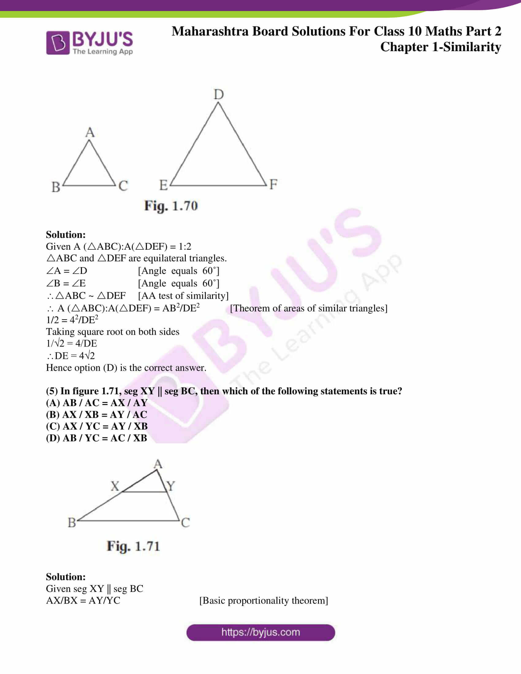 Similar Figures Worksheet Answer Key Msbshse solutions for Ssc Maths Part 2 Chapter 1 Similarity