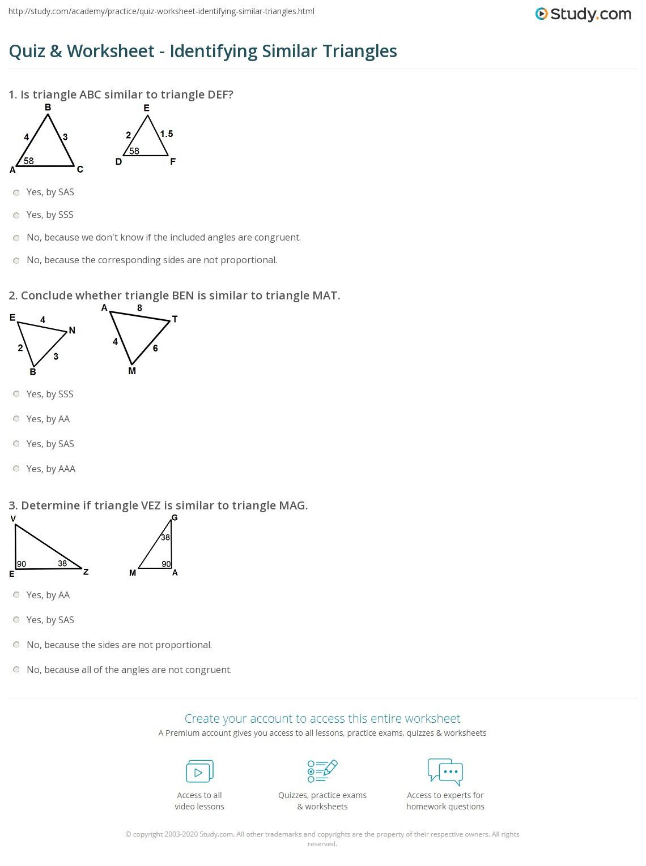 Similar Figures Worksheet Answer Key Quiz & Worksheet Identifying Similar Triangles