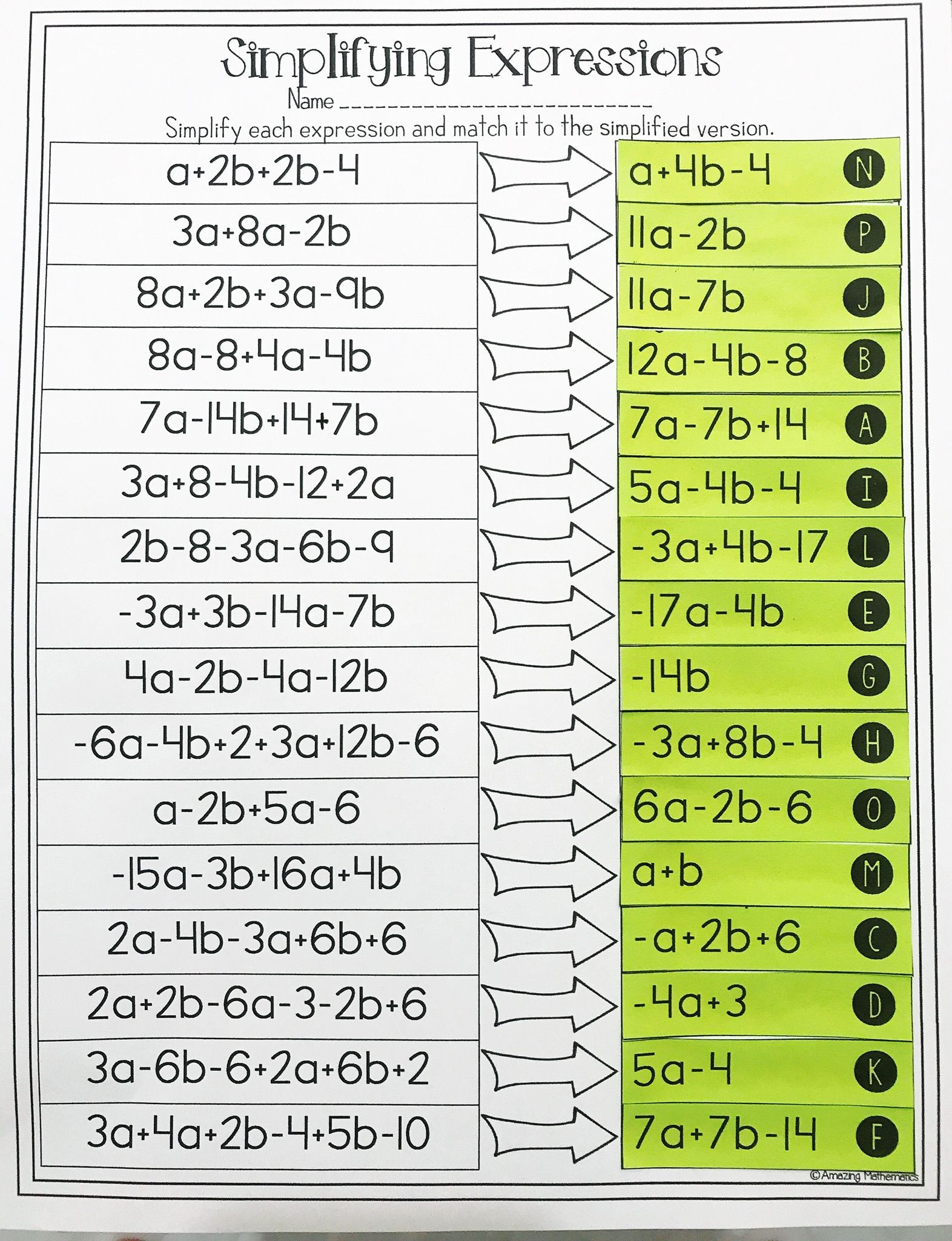 Simplifying Expressions Worksheet with Answers Bining Like Terms and Simplifying Expressions Matching