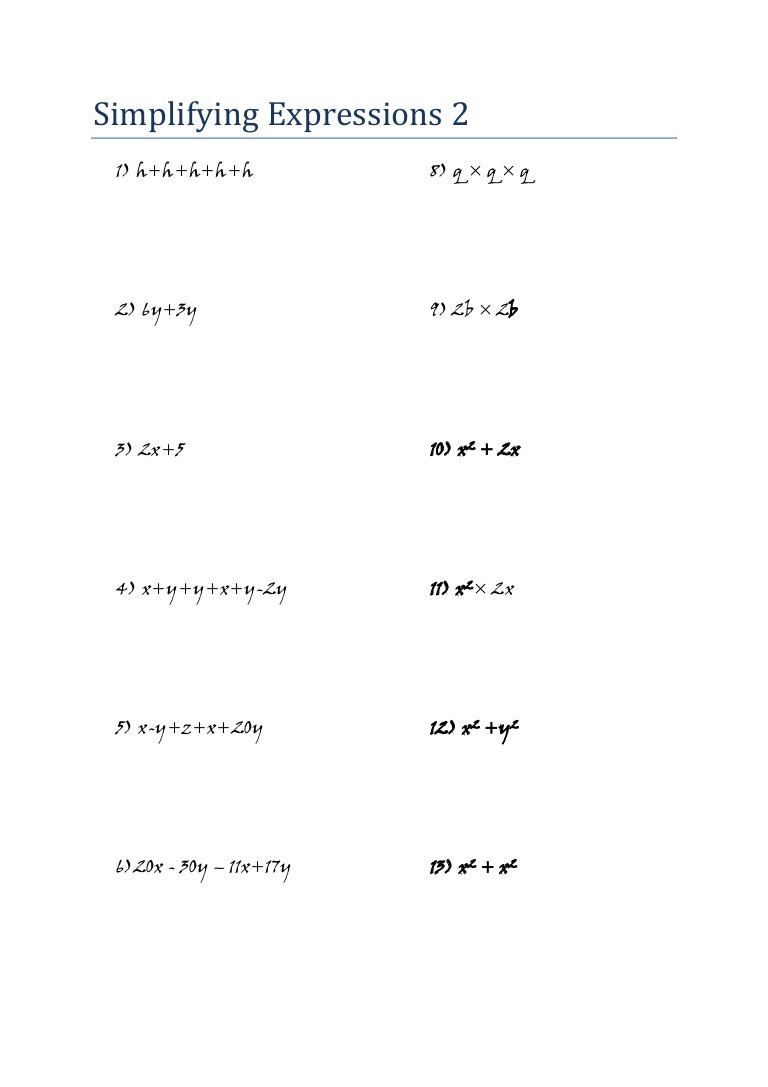 Simplifying Expressions Worksheet with Answers Mathematics Algebra Worksheet Simplifying Expressions