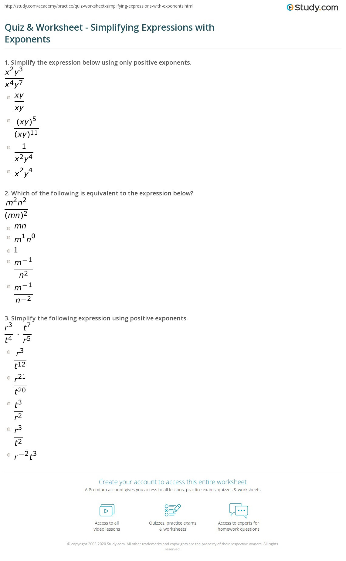 Simplifying Expressions Worksheet with Answers Quiz & Worksheet Simplifying Expressions with Exponents