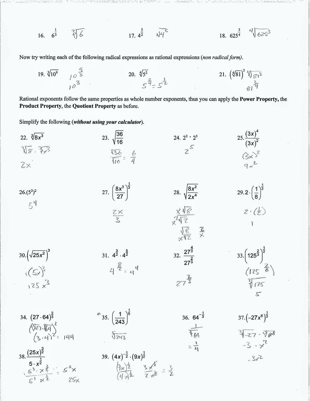 Simplifying Expressions Worksheet with Answers Simplifying Radical Expressions Worksheet Algebra 2