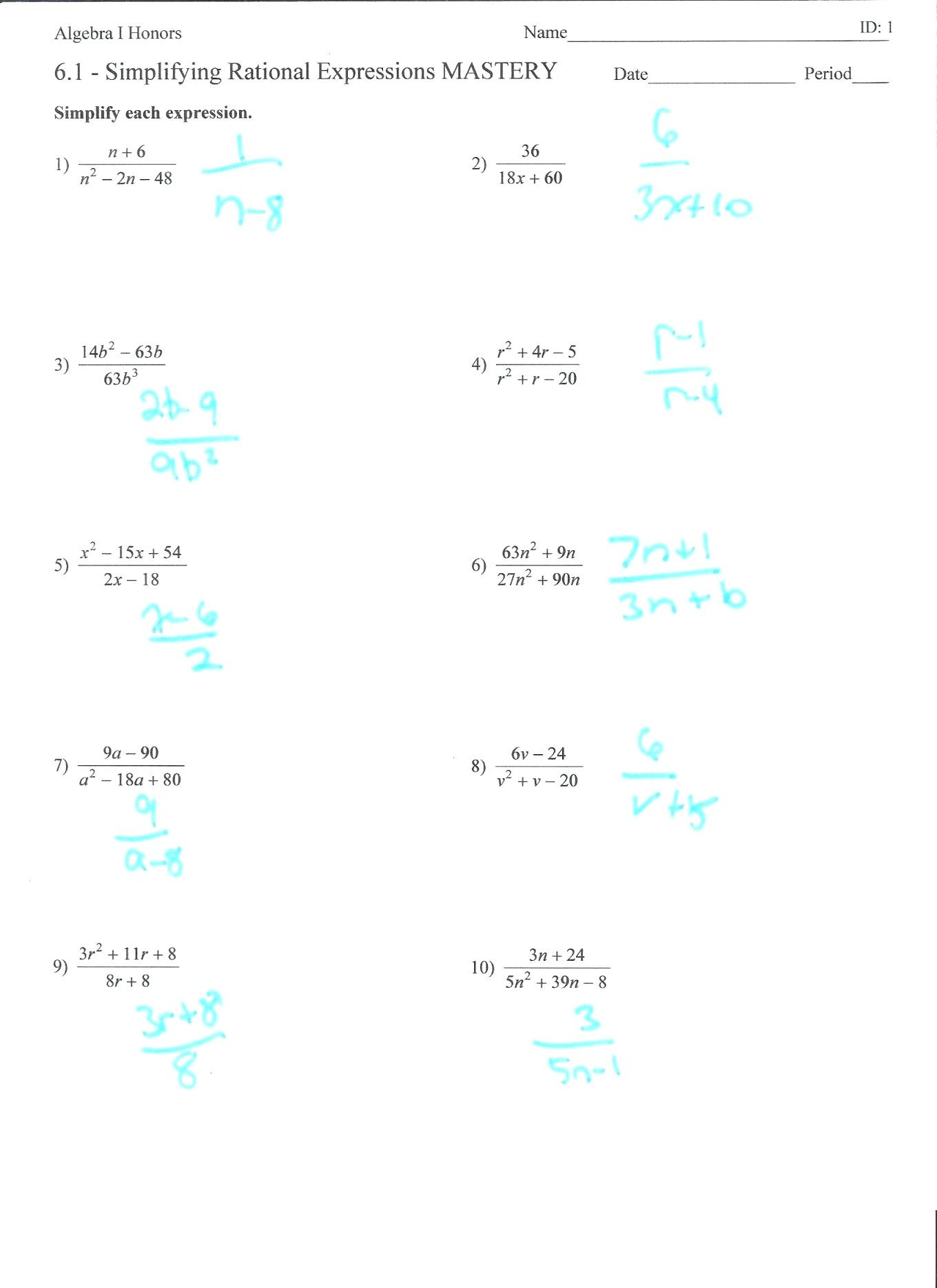 Simplifying Expressions Worksheet with Answers Simplifying Rational Expressions Worksheet