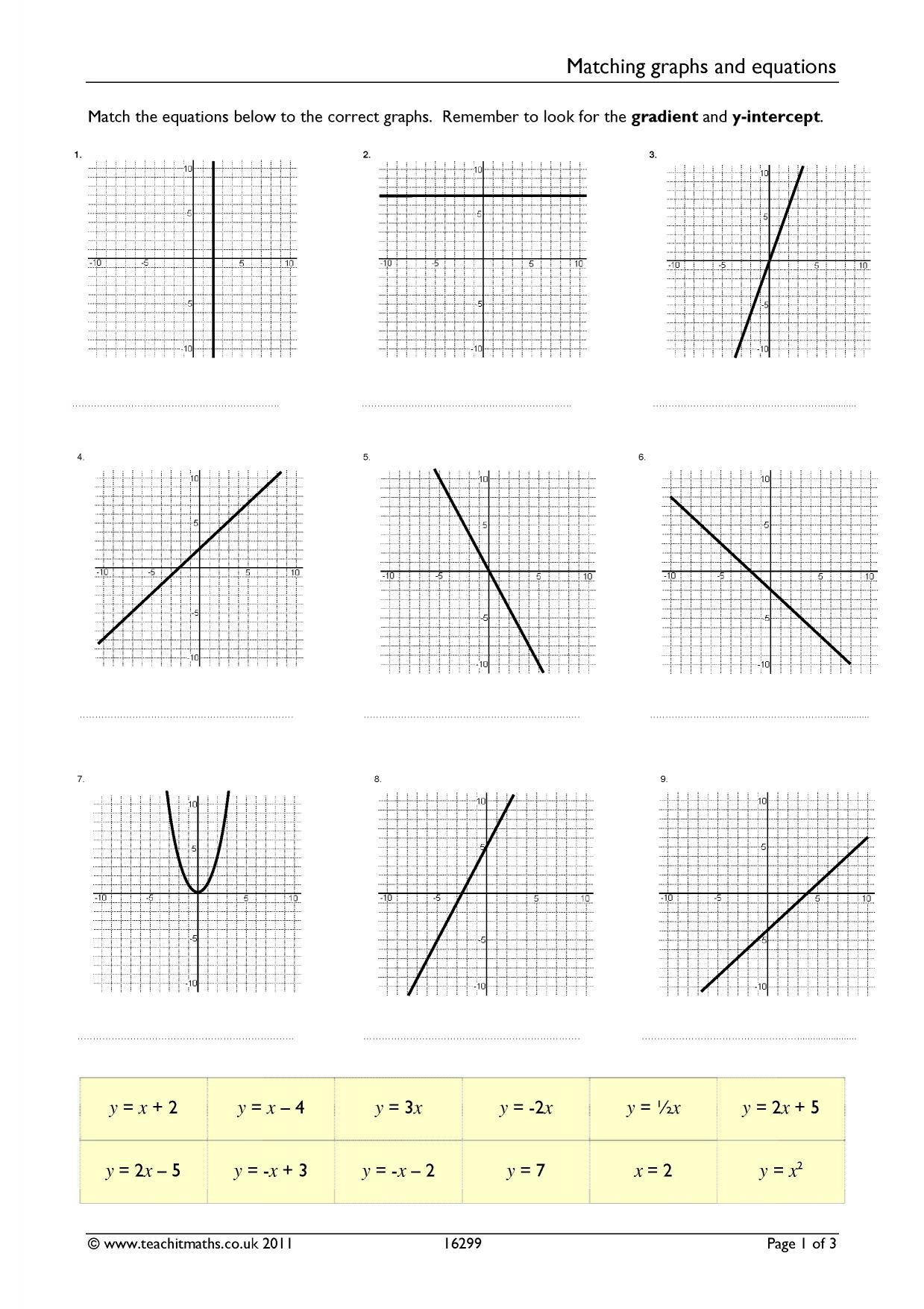 Slope From A Graph Worksheet Matching Graphs and Linear Equations Differentiated Worksheet