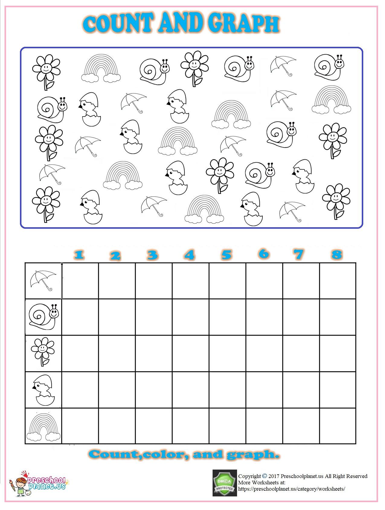 Slope From A Graph Worksheet Spring Count Graph Worksheet for Kindergarten – Preschoolplanet