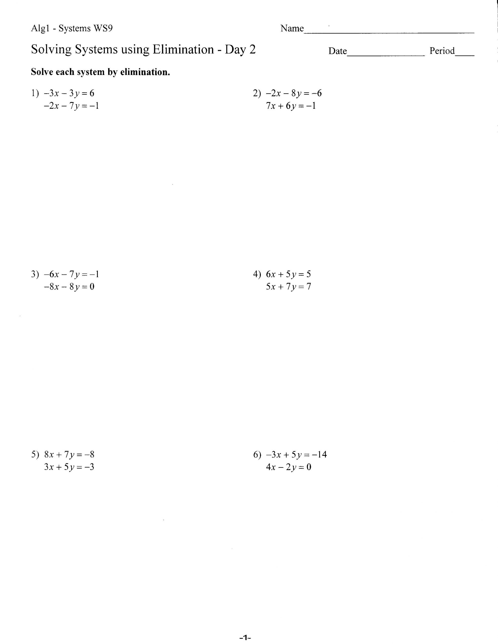 Solve by Elimination Worksheet Worksheets Mrs Lay S Webpage 2011 12