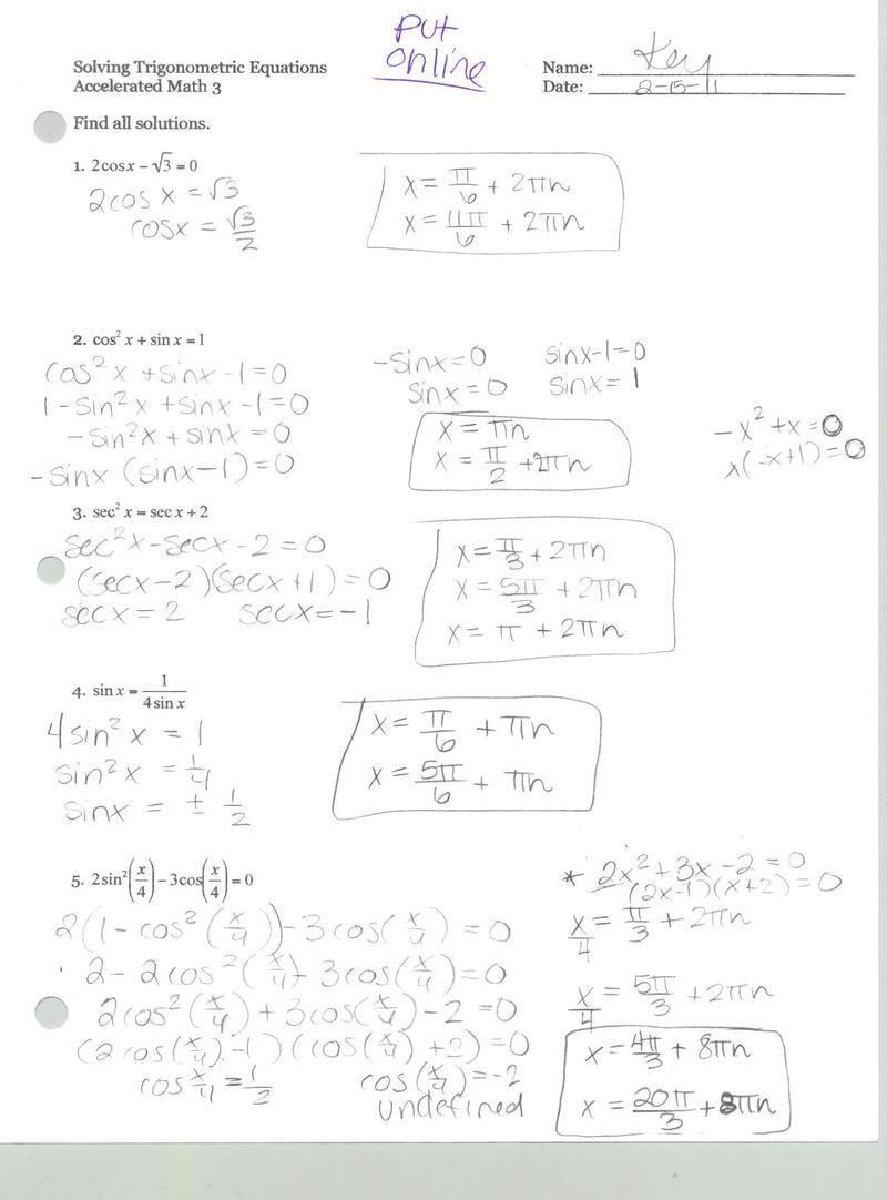 5 3 solving trig equations worksheet 2 precalculus