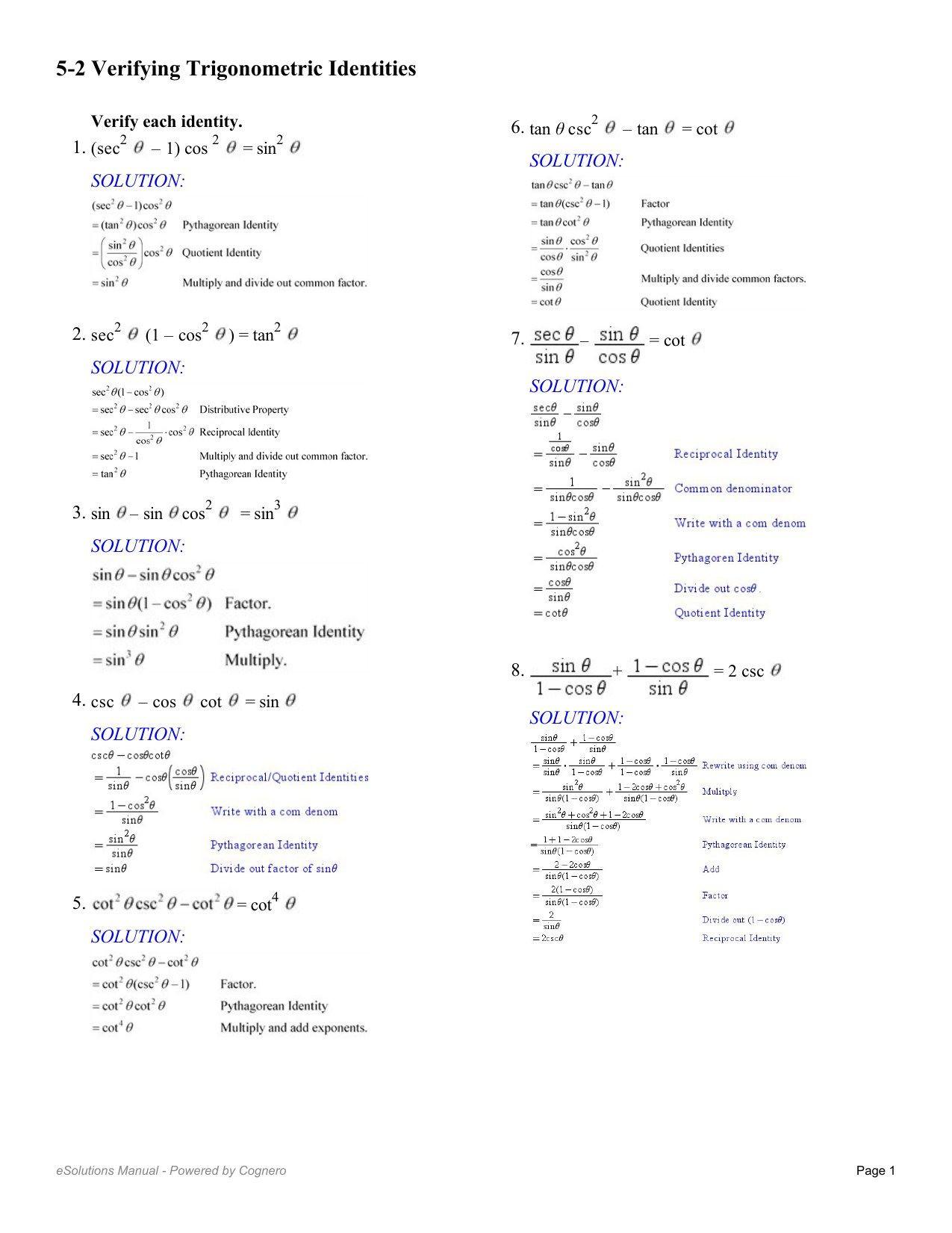 Solve Trig Equations Worksheet Graphing Sine and Cosine Functions Worksheet
