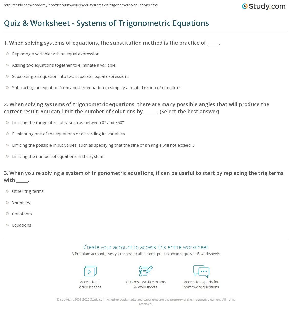 Solve Trig Equations Worksheet Quiz & Worksheet Systems Of Trigonometric Equations