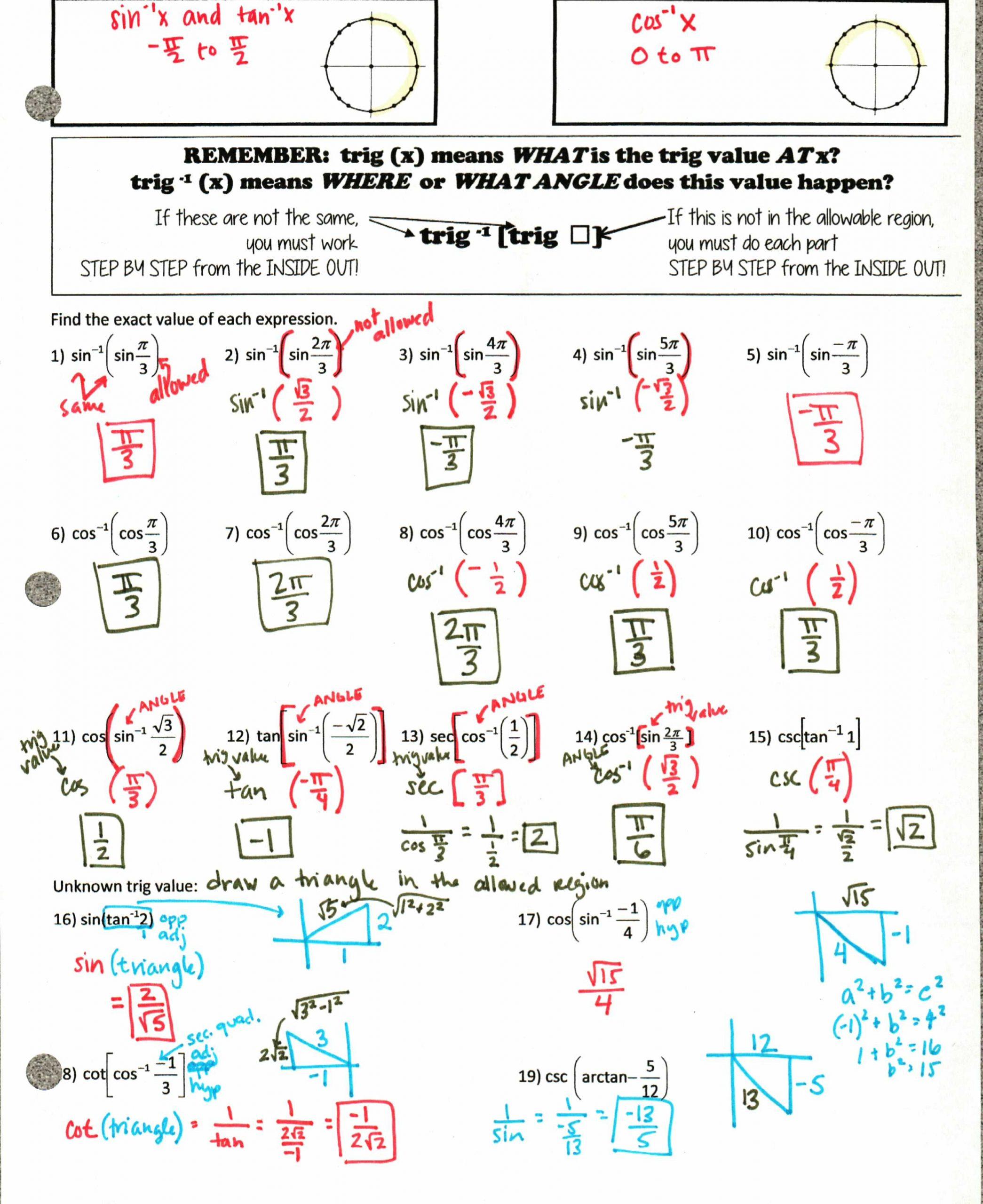 Solve Trig Equations Worksheet solving Trig Equations Using the Unit Circle Worksheet