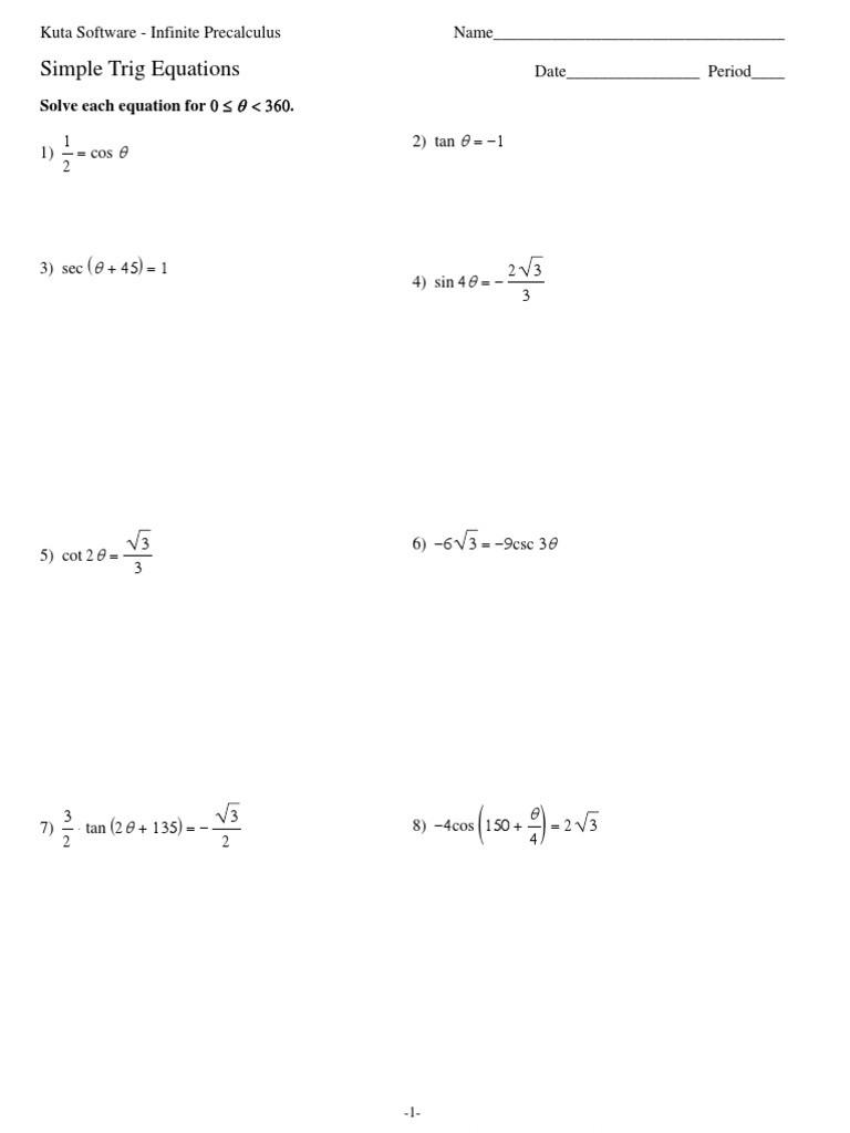 Solve Trig Equations Worksheet solving Trigonometric Equations Worksheet Kuta Tessshebaylo