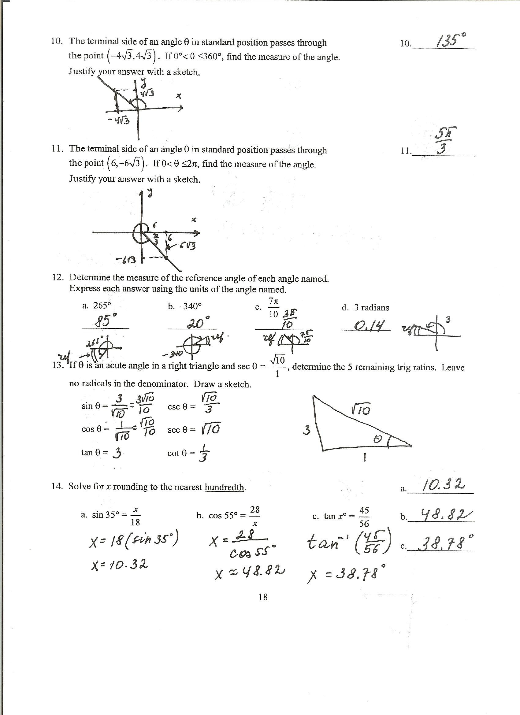 Solve Trig Equations Worksheet solving Trigonometric Equations Worksheet Part 2 Answers