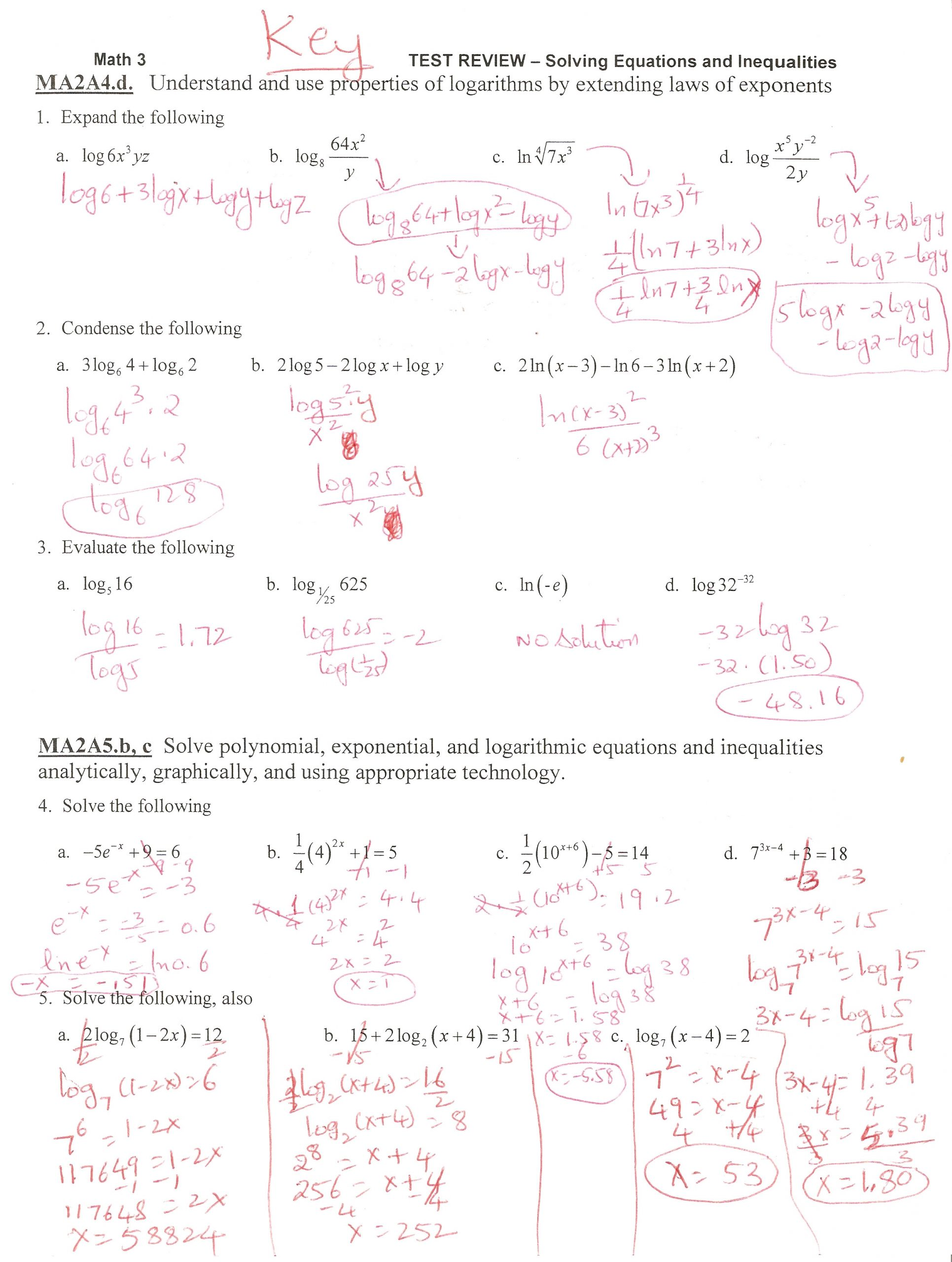 Solving Equations and Inequalities Worksheet solving Equations and Inequalities Test Review Tessshebaylo
