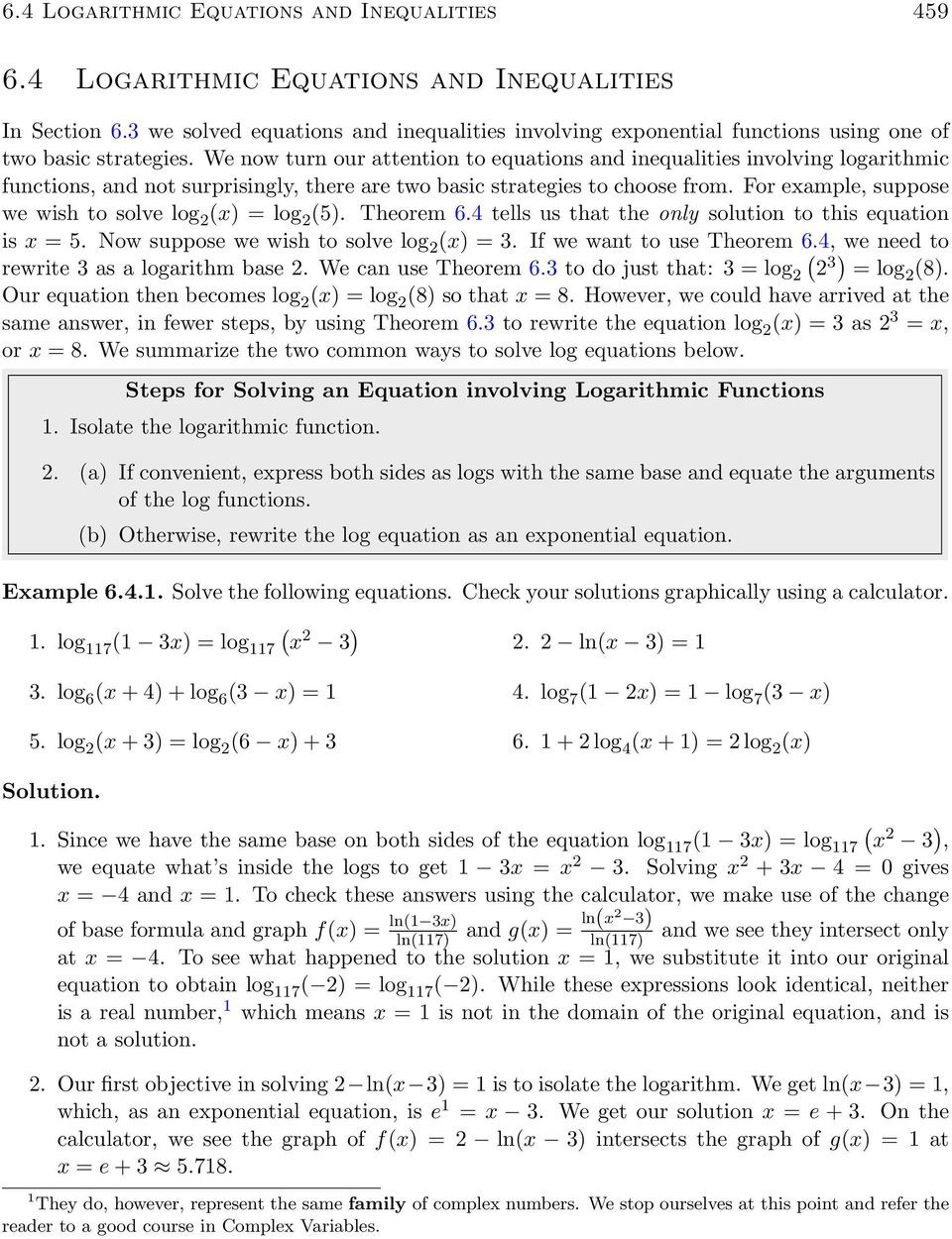 Solving Logarithmic Equations Worksheet 6 4 Logarithmic Equations and Inequalities Pdf Free Download
