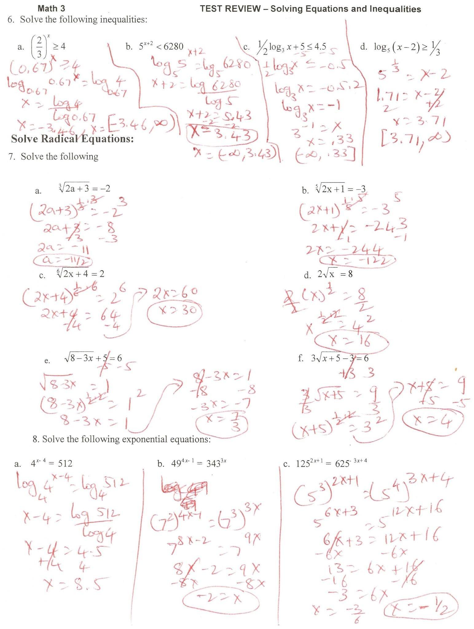 Solving Logarithmic Equations Worksheet solving Exponential and Logarithmic Equations Worksheet