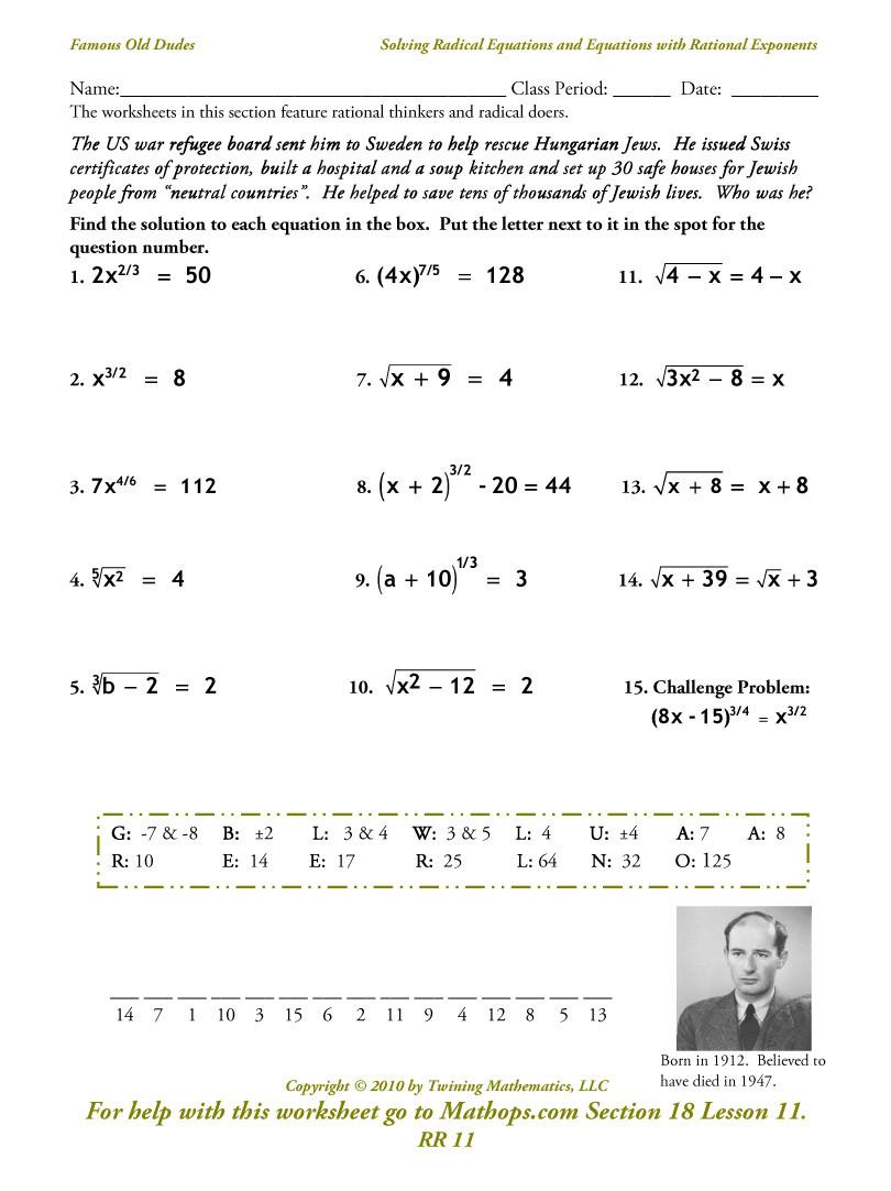Solving Square Root Equations Worksheet Alg 2 Homework assignments Semester 2