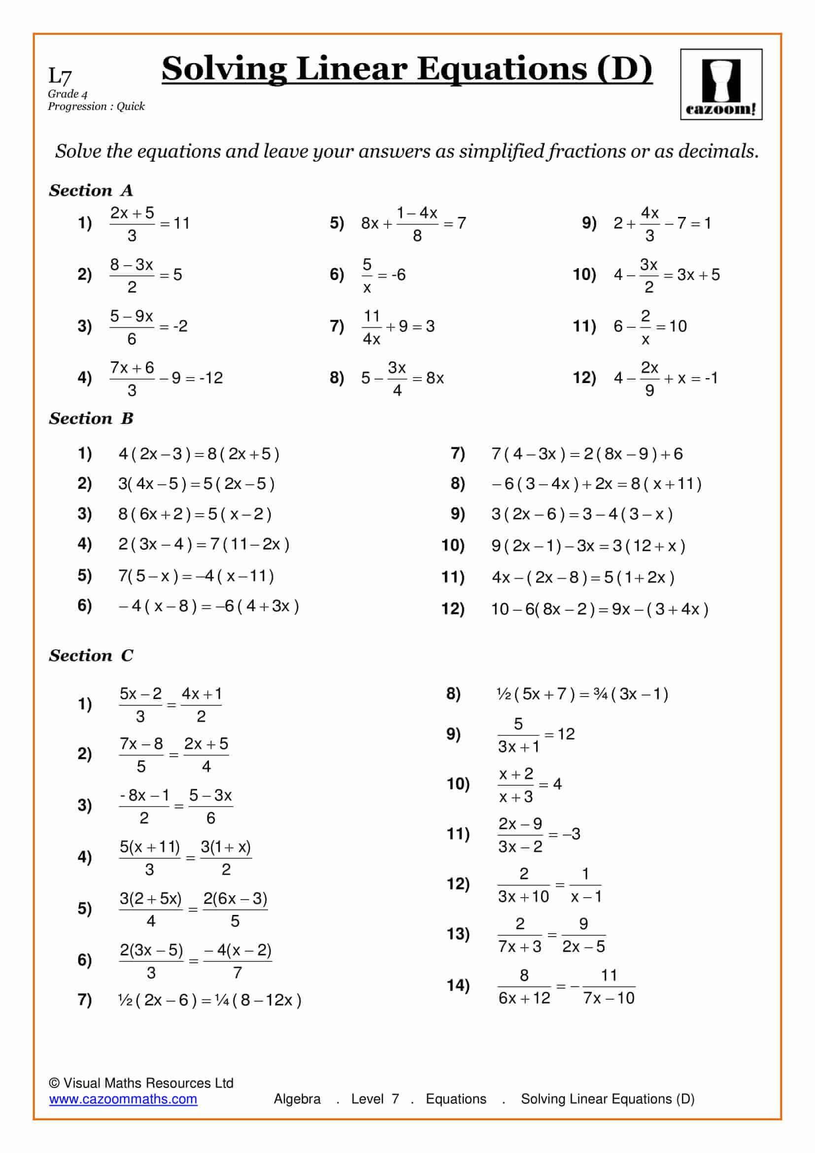 Solving Square Root Equations Worksheet solving Equations Maths Worksheet