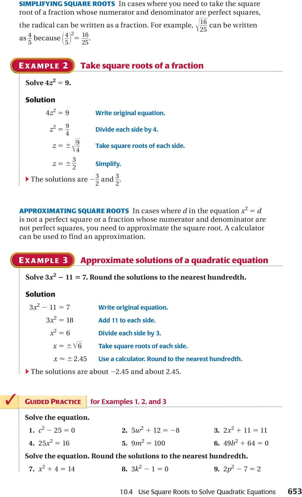 Solving Square Root Equations Worksheet Use Square Roots to solve Quadratic Equations Pdf Free