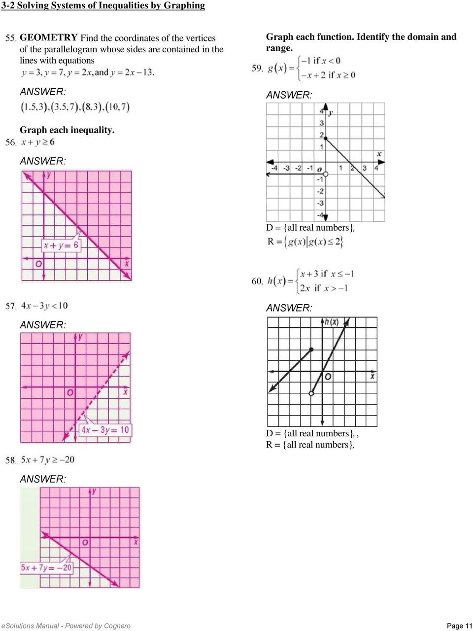 Solving Systems Of Inequalities Worksheet 3 2 solving Systems Of Inequalities by Graphing solve Each