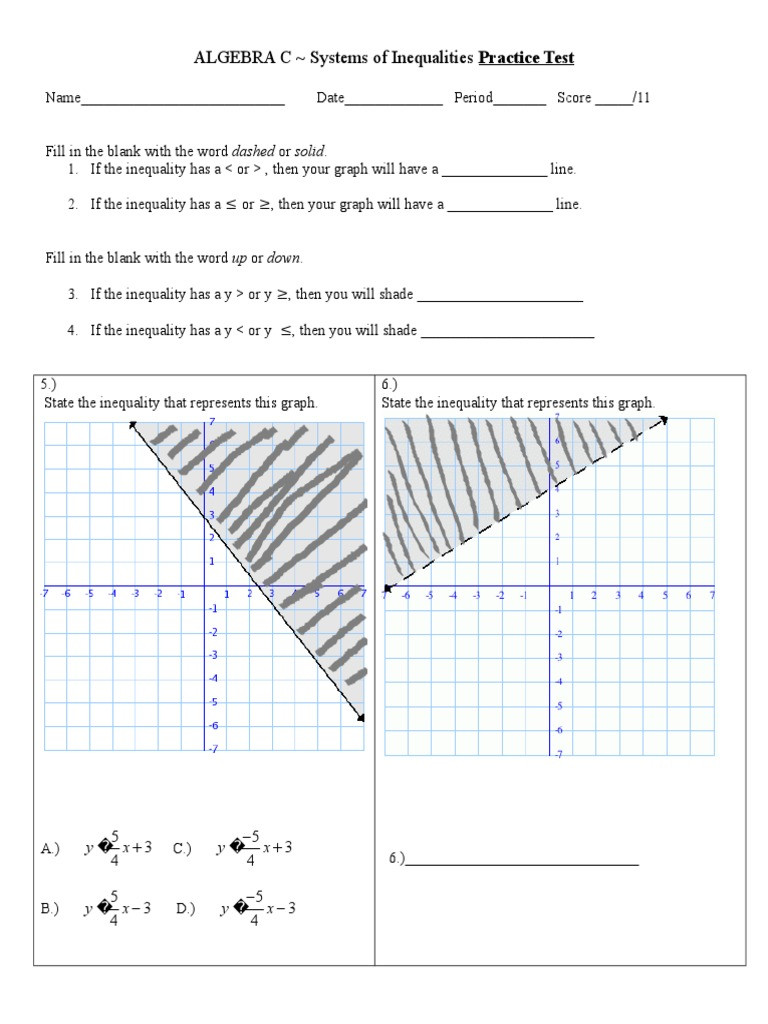Solving Systems Of Inequalities Worksheet Algebra C Practice Test On Systems Of Inequalities