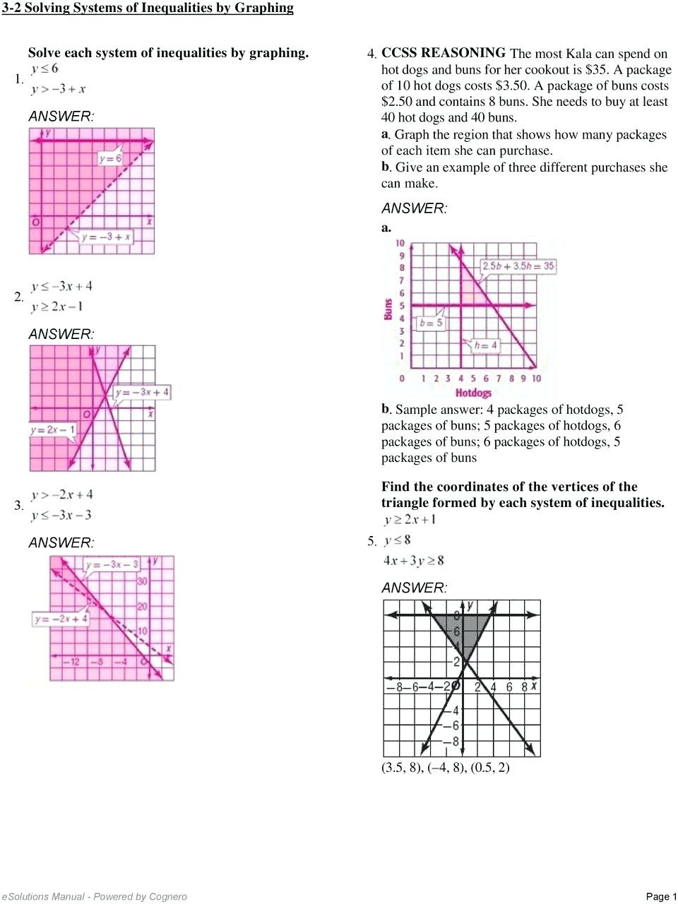 Solving Systems Of Inequalities Worksheet solve and Graph Inequalities Worksheet Promotiontablecovers