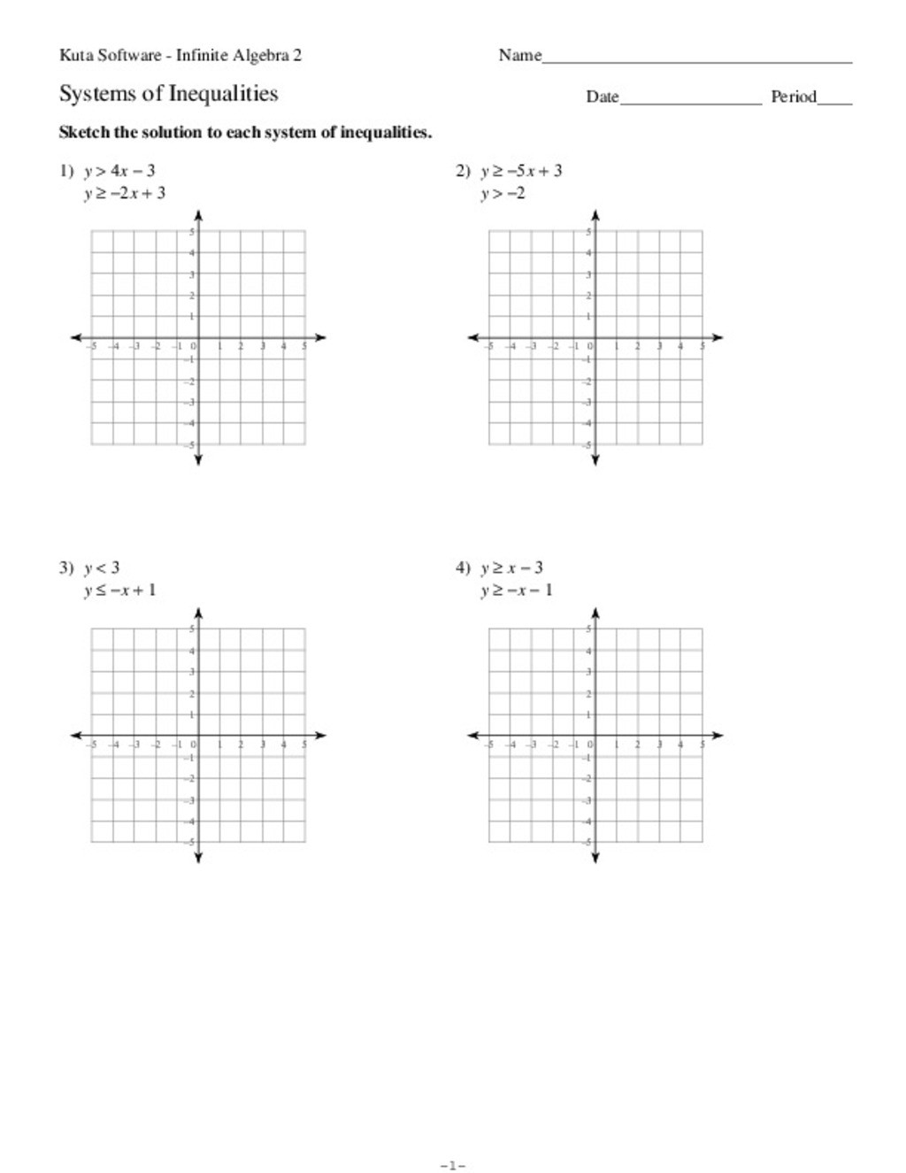 Solving Systems Of Inequalities Worksheet Systems Of Equations and Inequalities Collection