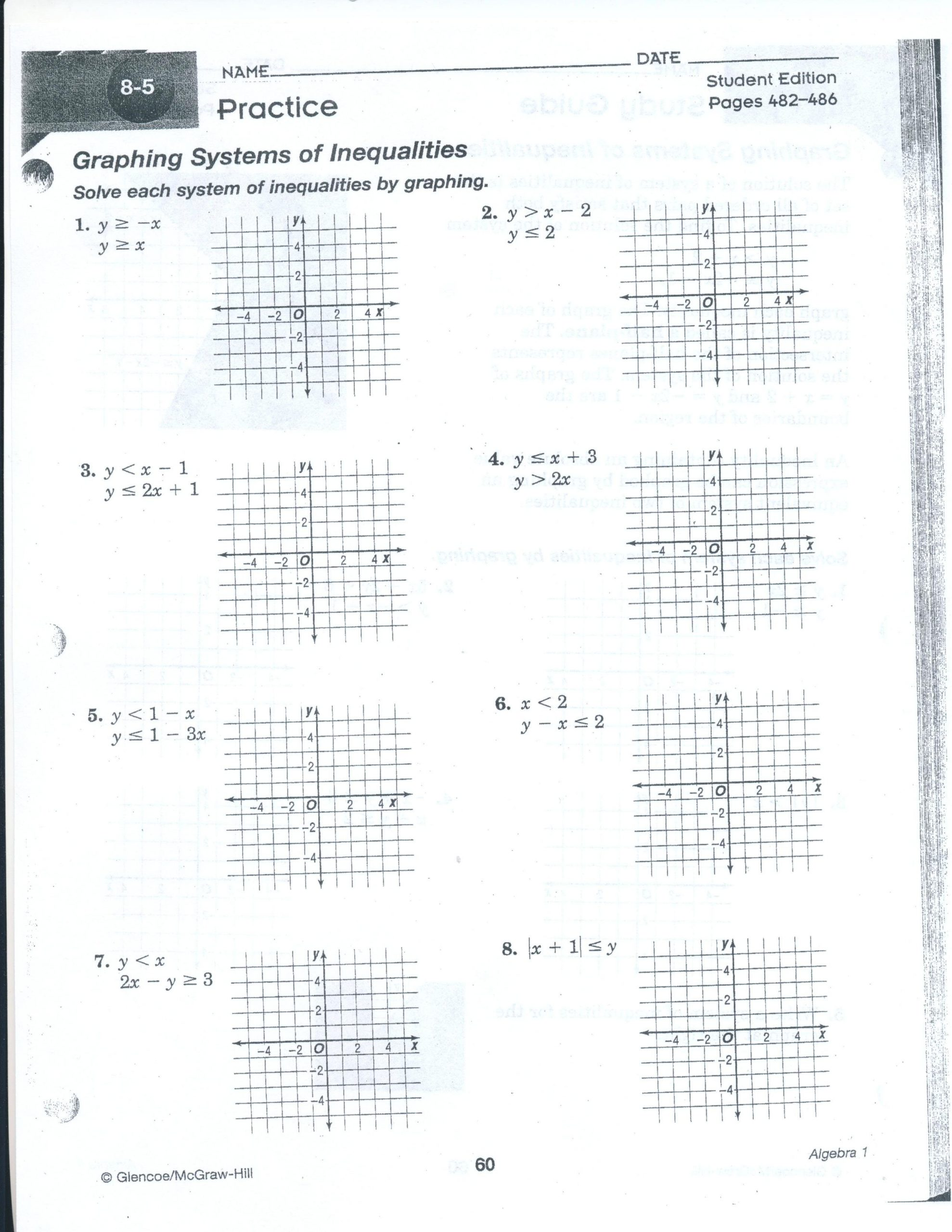 Solving Systems Of Inequalities Worksheet Worksheet Systems Linear Equations