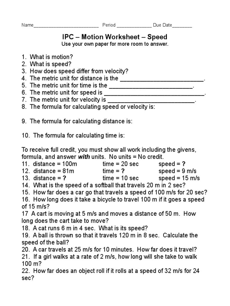 Speed and Velocity Worksheet Ipc – Motion Worksheet – Speed Use Your Own Paper for More