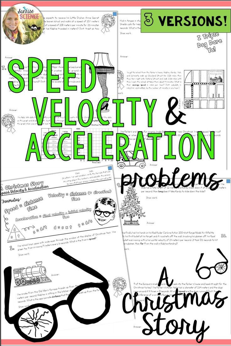 Speed and Velocity Worksheet Speed Velocity Acceleration Motion A Christmas Story Physics