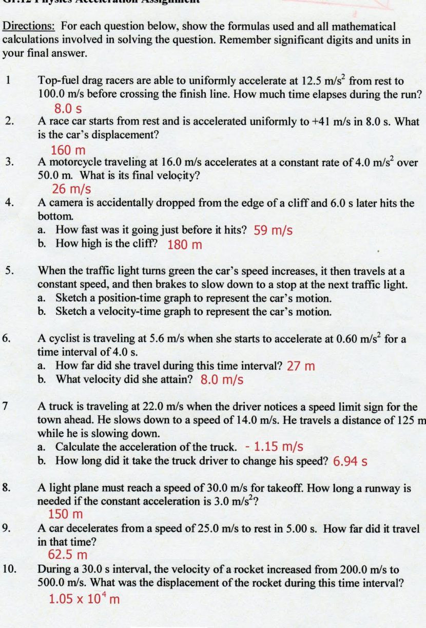 Speed Problem Worksheet Answers Time Displacement Velocity formula Search
