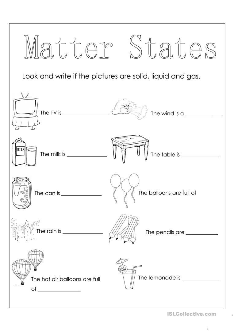 State Of Matter Worksheet Matter States English Esl Worksheets for Distance Learning