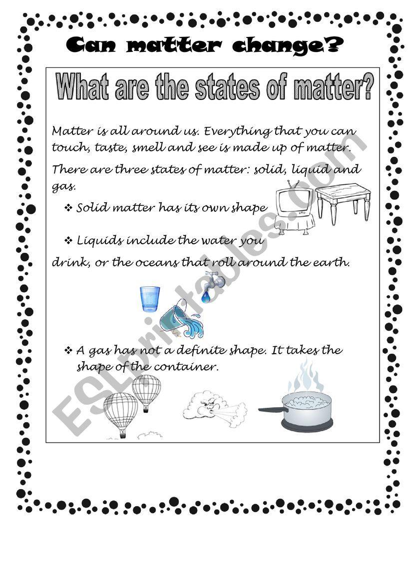 State Of Matter Worksheet States Of Matter Esl Worksheet by Rossman2