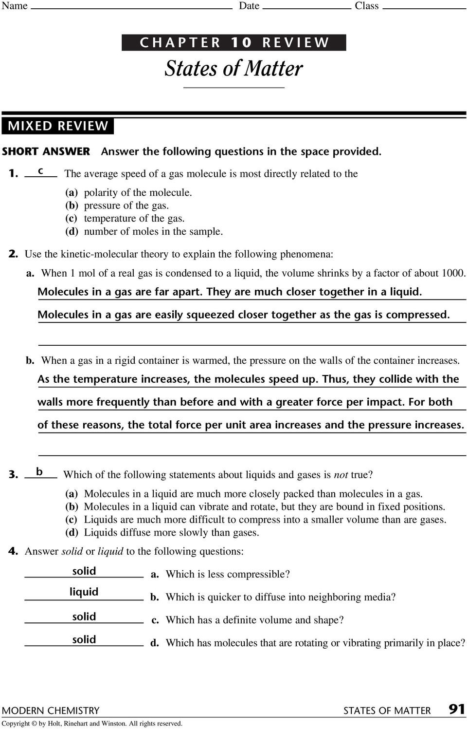 States Of Matter Worksheet Chemistry States Of Matter Chapter 10 Review Section 1 Name Date