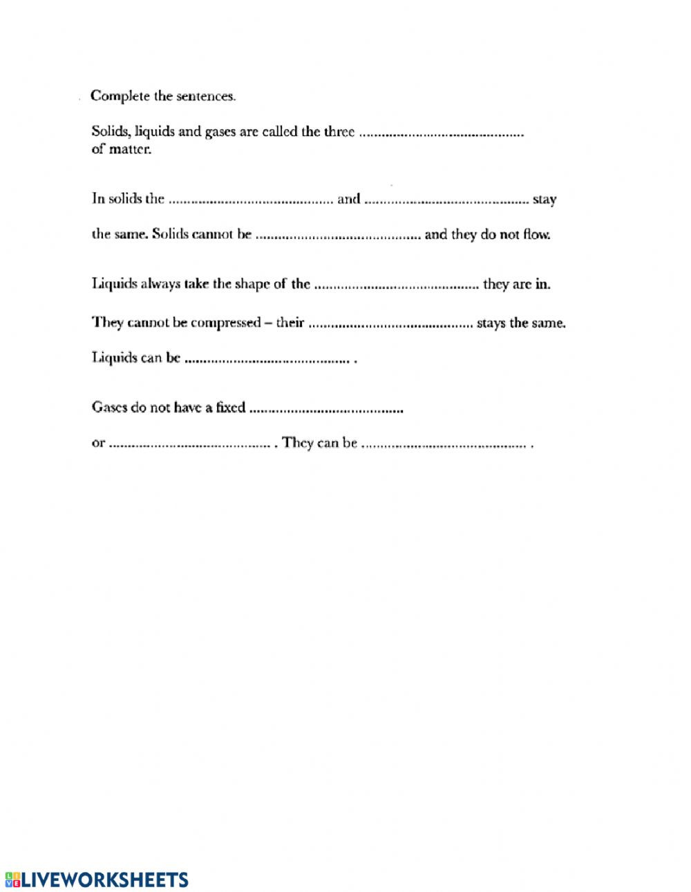 States Of Matter Worksheet Chemistry States Of Matter Interactive Worksheet