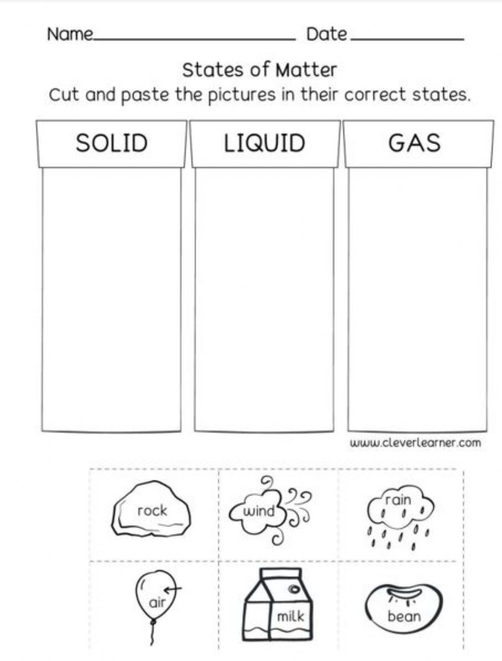 States Of Matter Worksheet Pdf Matter solid Liquid Gas Interactive Worksheet