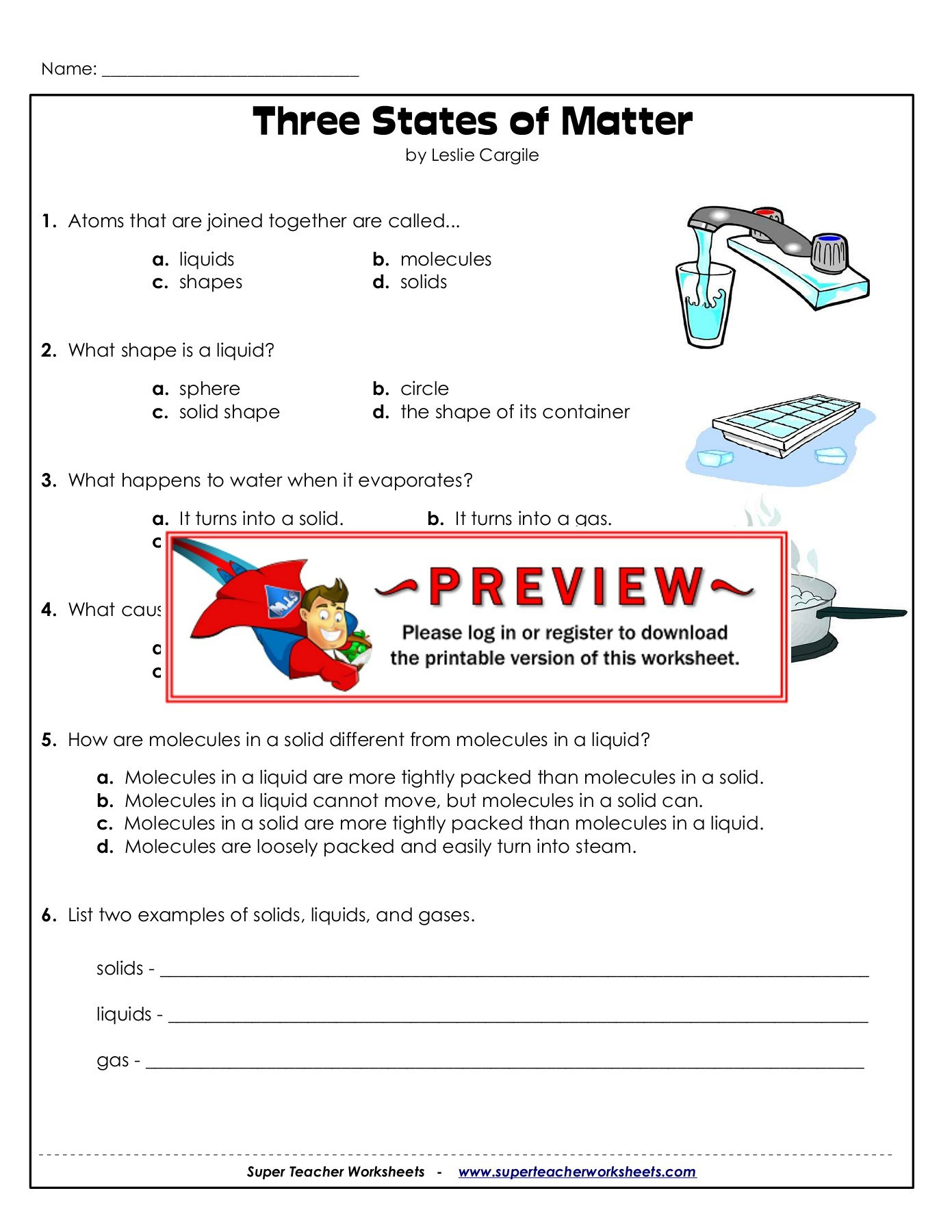 States Of Matter Worksheet Pdf Name Three States Of Matter Super Teacher Worksheets