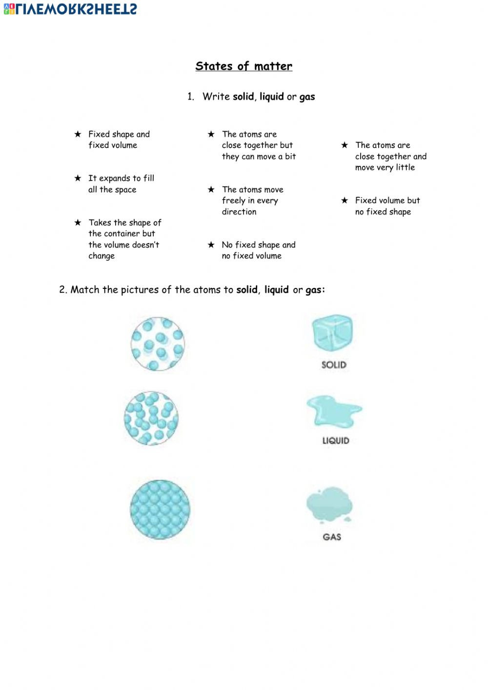States Of Matter Worksheet Pdf States Of Matter Online Worksheet and Pdf