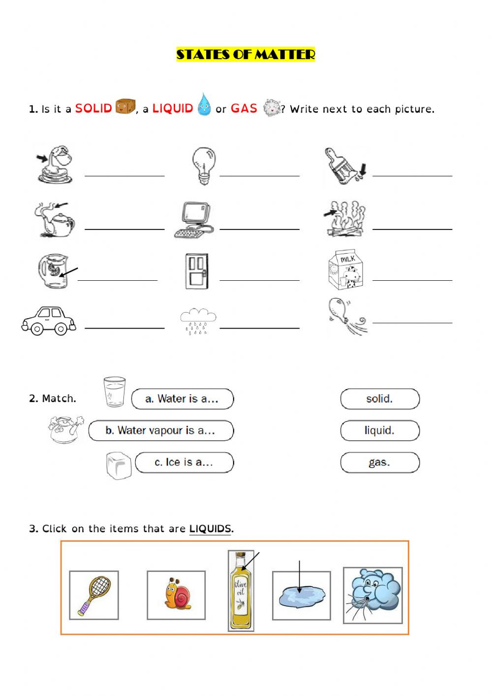 States Of Matter Worksheet States Of Matter Test Interactive Worksheet