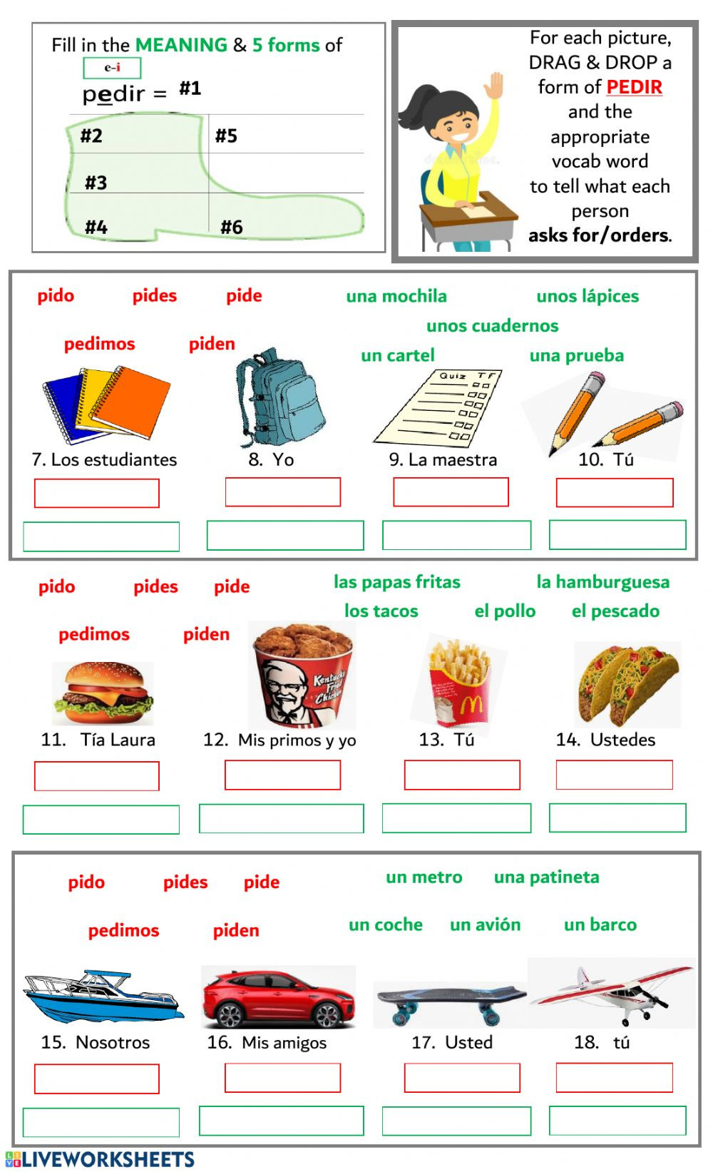 Stem Changing Verbs Worksheet Answers E I Stem Changing Verbs Pedir Interactive Worksheet