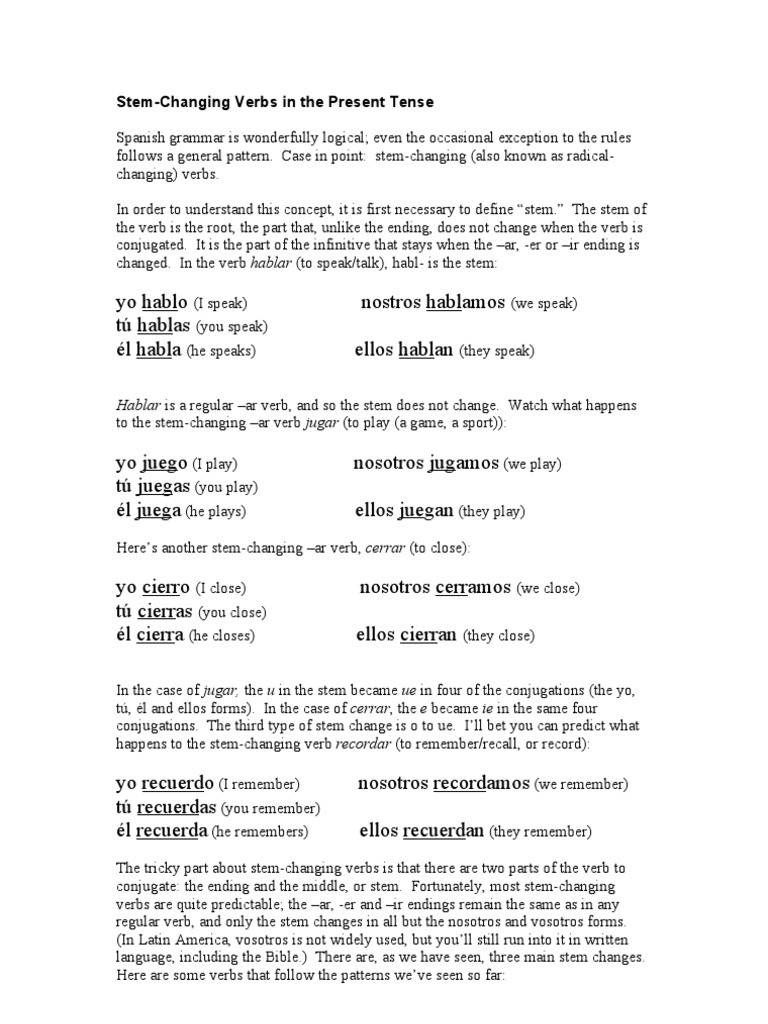 Stem Changing Verbs Worksheet Answers Spanish Stem Changing Verbs Present Tense