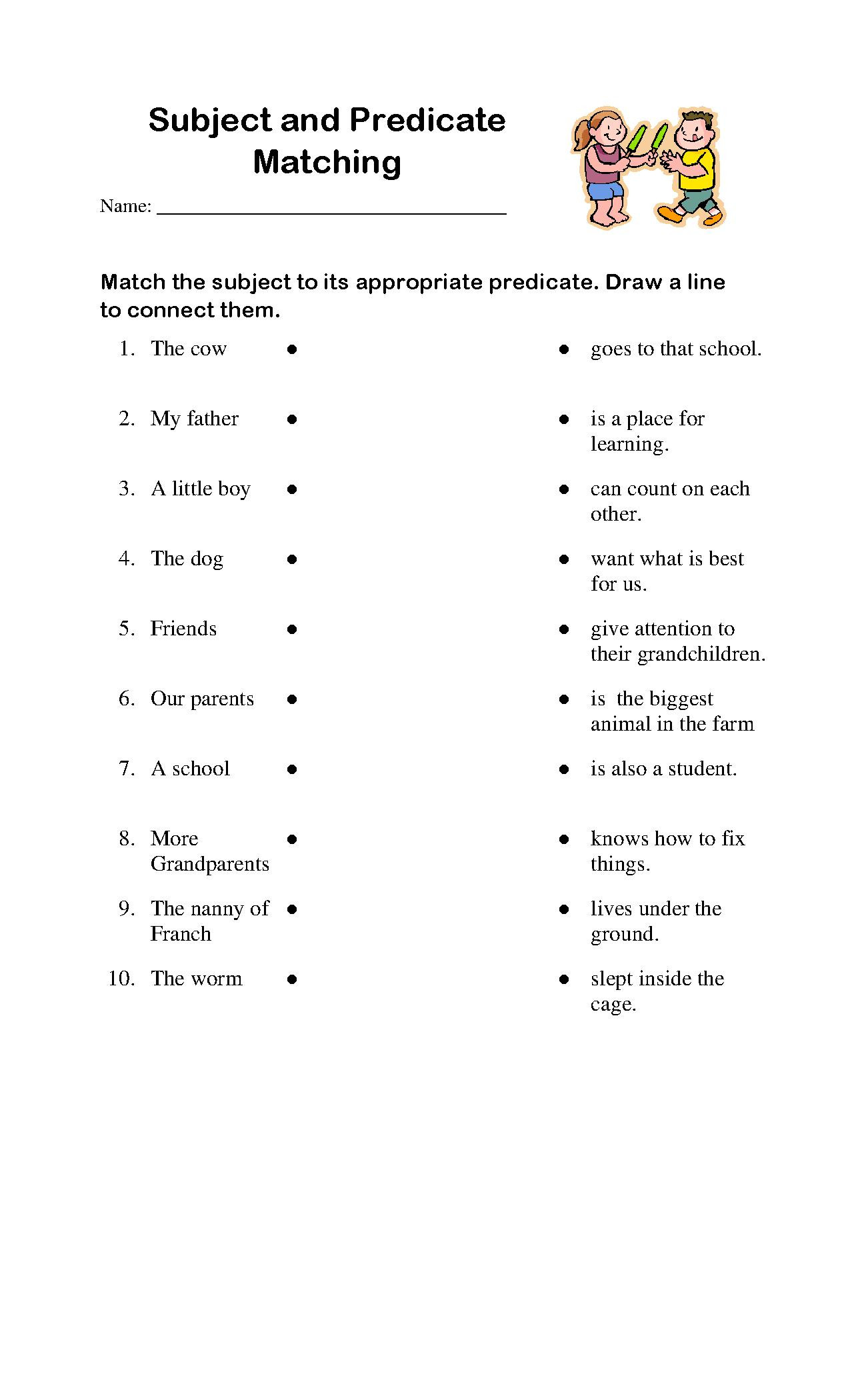 Subject and Predicate Worksheet Smarty Fox