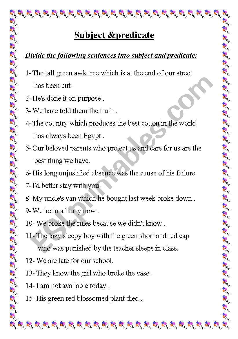 Subject and Predicate Worksheet Subject & Predicate Esl Worksheet by Ayaat