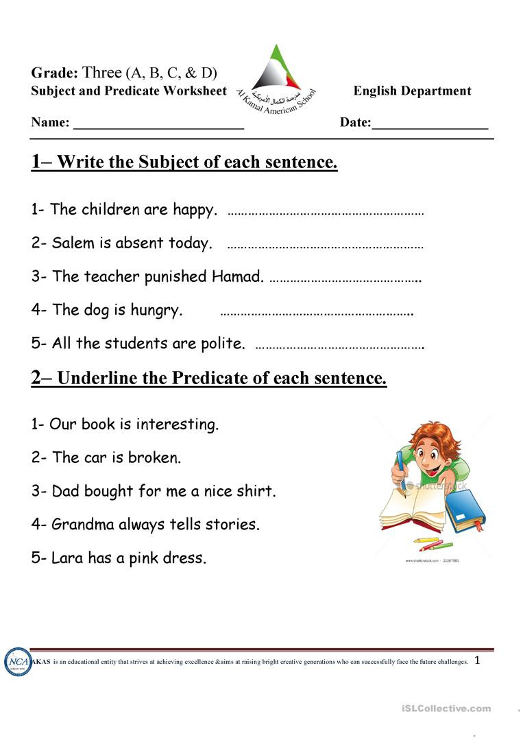 Subject and Predicate Worksheet Subject and Predicate English Esl Worksheets for Distance