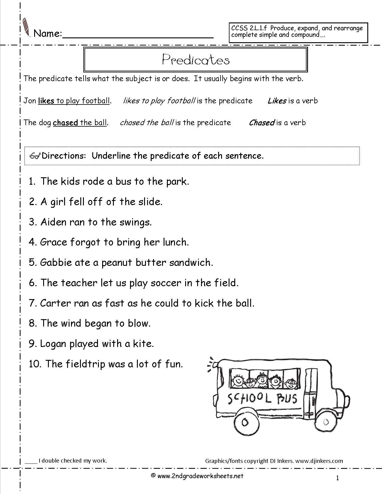 Subject and Predicate Worksheet Subject and Predicate Sentences Worksheets for 3rd