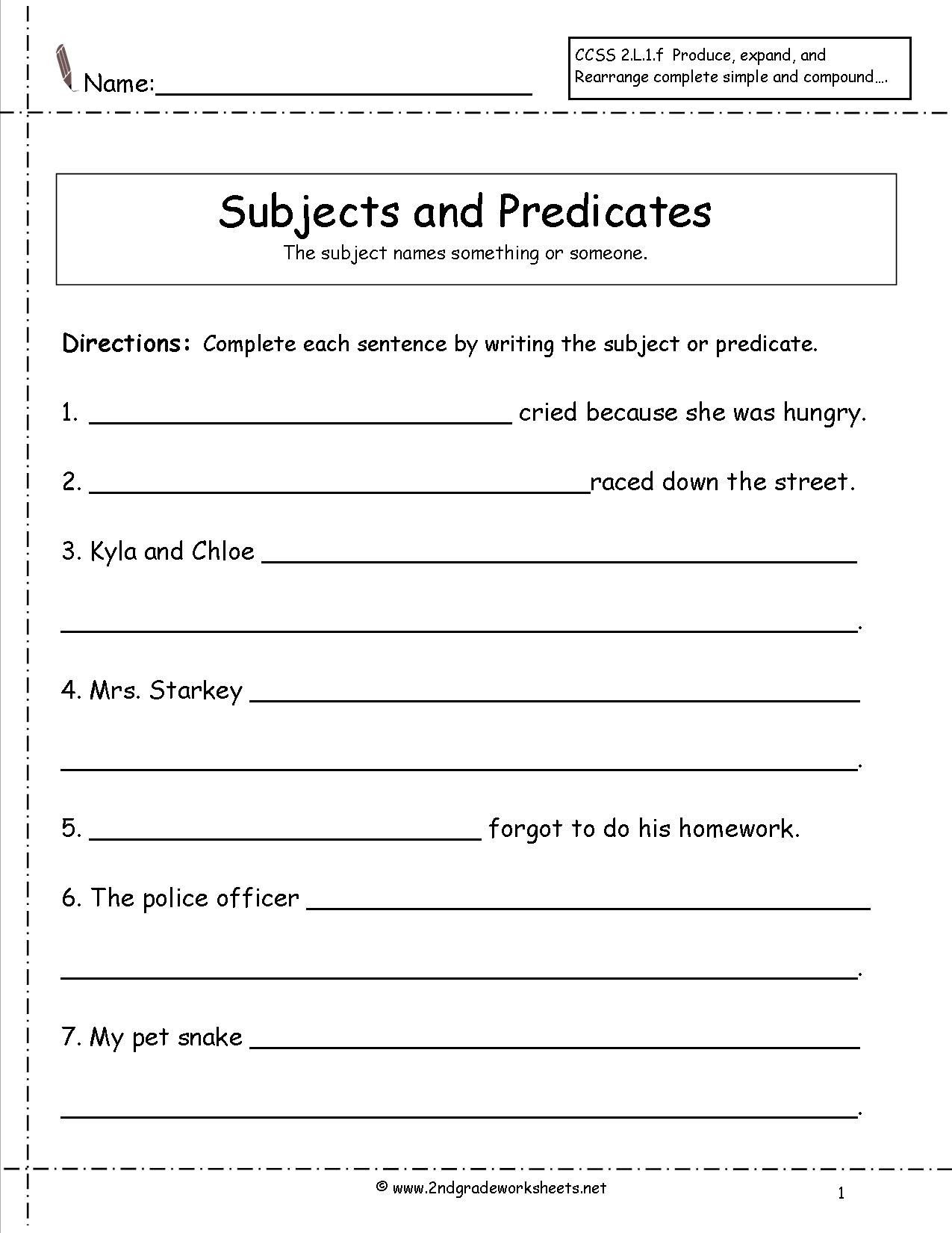 Subject and Predicate Worksheet Subject and Predicate Worksheet