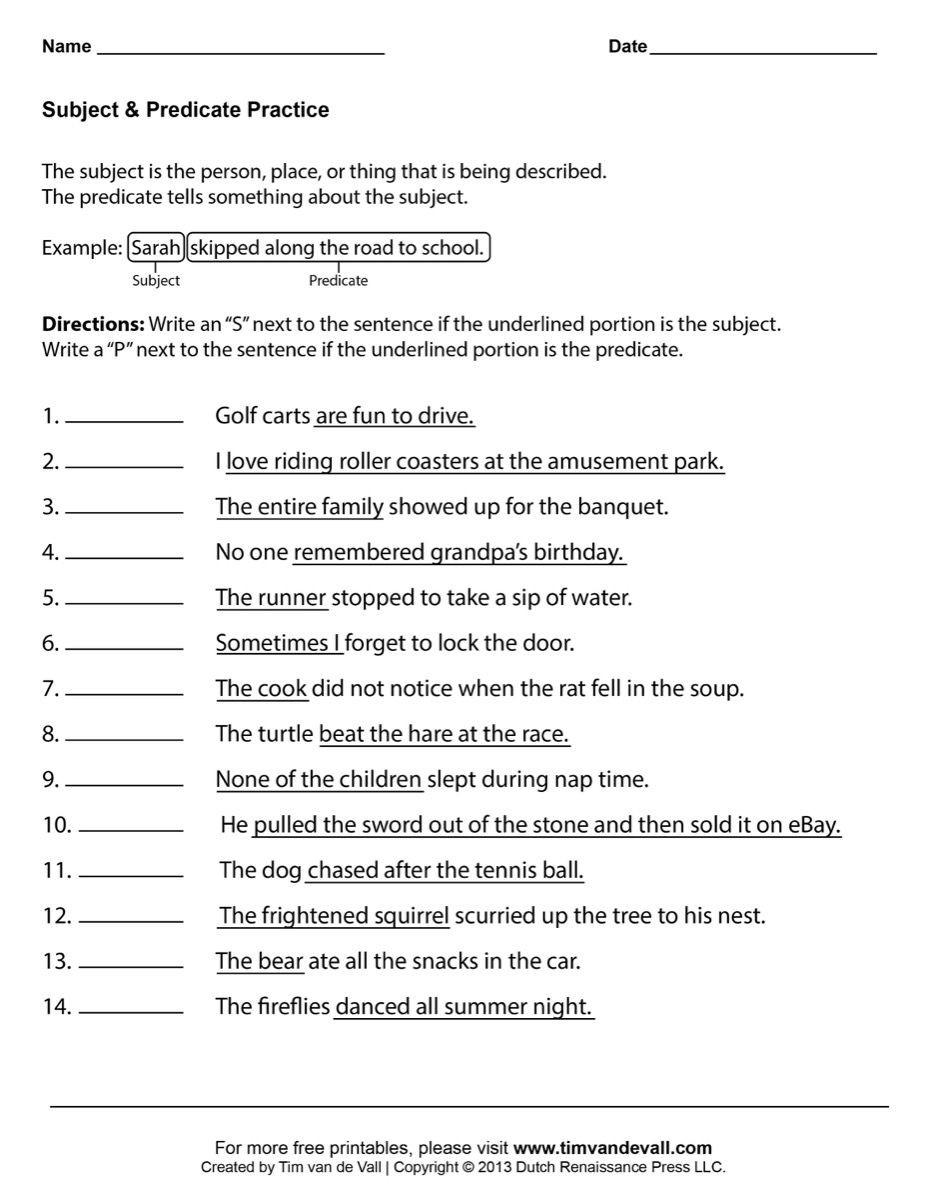 Subject and Predicate Worksheet Subject Predicate Worksheets 03 Printable 927—1200